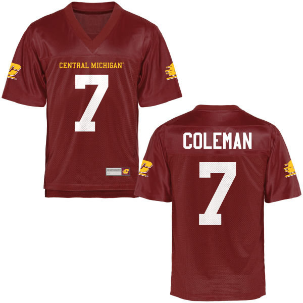 Youth Amari Coleman Central Michigan Chippewas Game Football Jersey Maroon