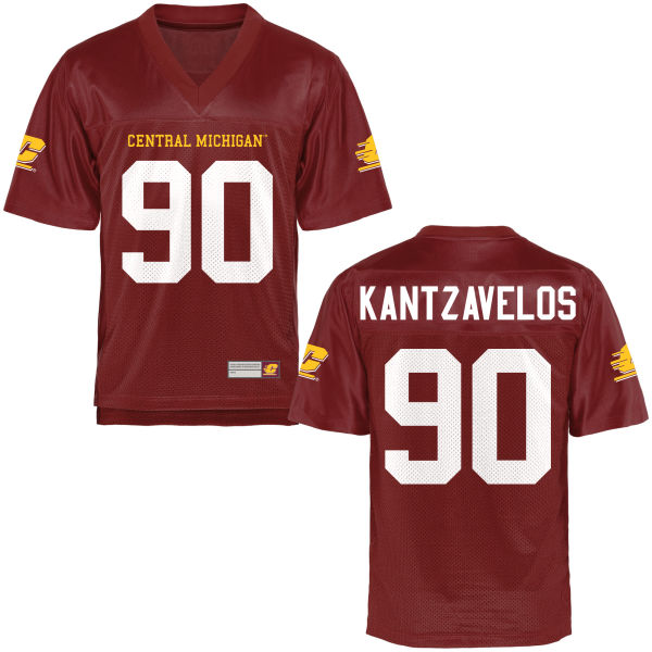 Youth Chris Kantzavelos Central Michigan Chippewas Game Football Jersey Maroon