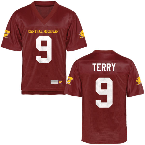 Men's Damon Terry Central Michigan Chippewas Game Football Jersey Maroon