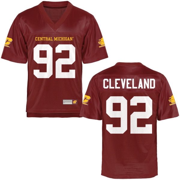 Men's Dante Cleveland Central Michigan Chippewas Replica Football Jersey Maroon