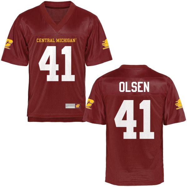 Men's Elijah Olsen Central Michigan Chippewas Game Football Jersey Maroon