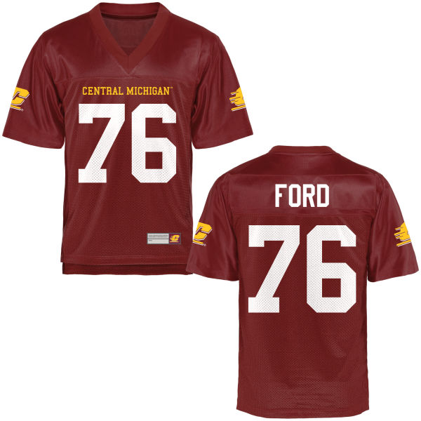 Men's Jack Ford Central Michigan Chippewas Replica Football Jersey Maroon