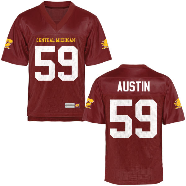 Youth Joe Austin Central Michigan Chippewas Replica Football Jersey Maroon