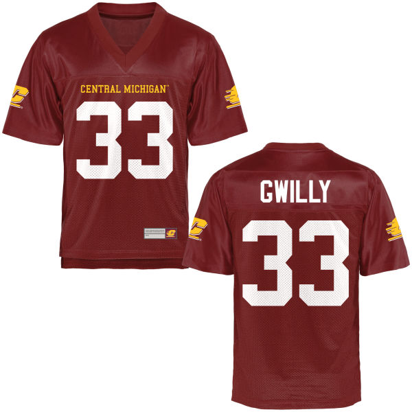 Men's Kumehnnu Gwilly Central Michigan Chippewas Replica Football Jersey Maroon