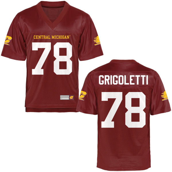 Men's Louis Grigoletti Central Michigan Chippewas Game Football Jersey Maroon