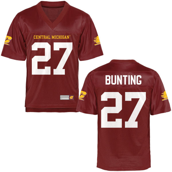 Youth Sean Bunting Central Michigan Chippewas Game Football Jersey Maroon