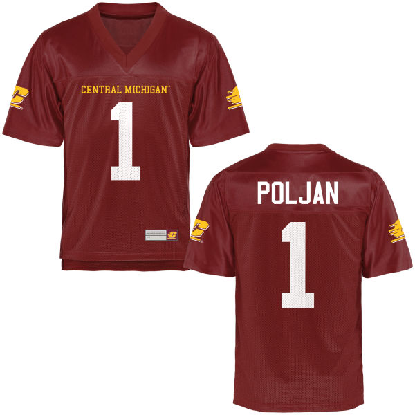 Youth Tony Poljan Central Michigan Chippewas Game Football Jersey Maroon