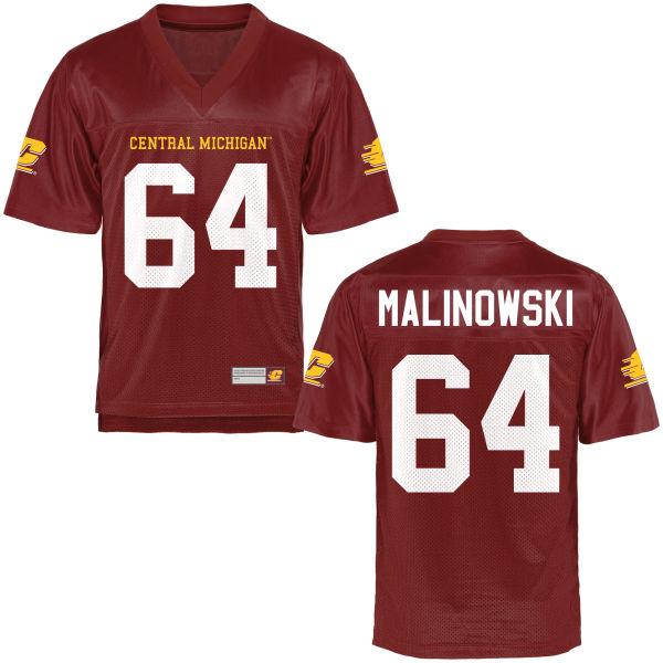 Men's Travis Malinowski Central Michigan Chippewas Limited Football Jersey Maroon