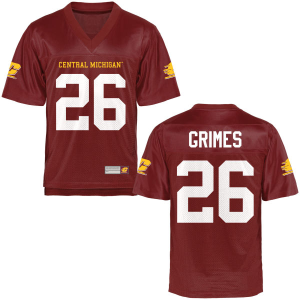 Men's Trent Grimes Central Michigan Chippewas Replica Football Jersey Maroon