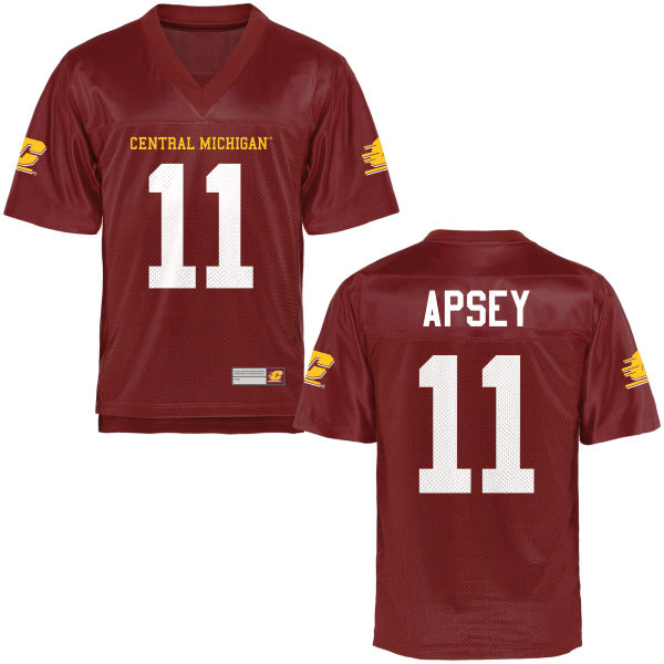 Men's Trevor Apsey Central Michigan Chippewas Game Football Jersey Maroon