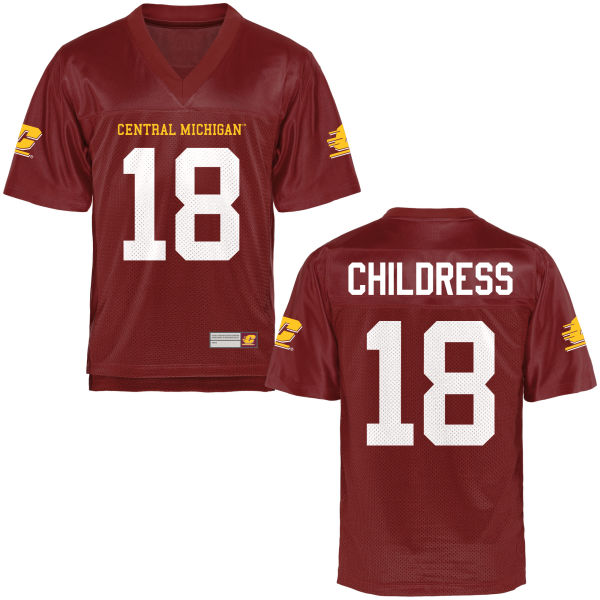 Youth Brandon Childress Central Michigan Chippewas Replica Football Jersey Maroon