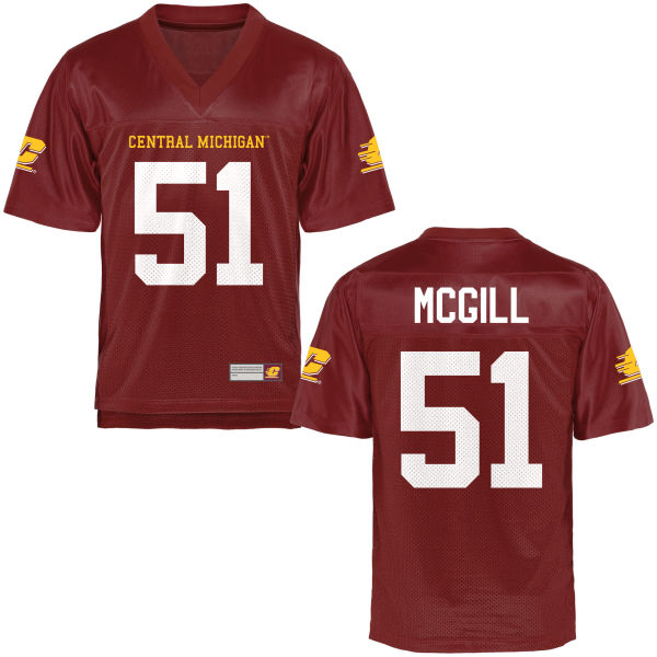 Men's Chase McGill Central Michigan Chippewas Game Football Jersey Maroon