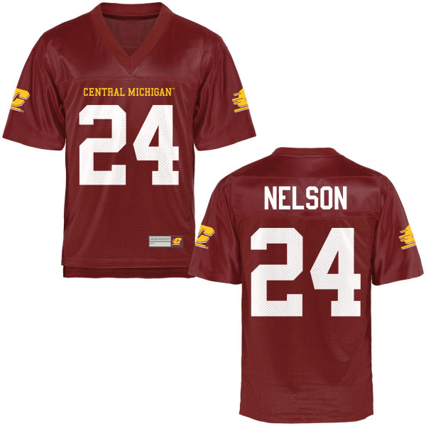 Youth Chris Nelson Central Michigan Chippewas Game Football Jersey Maroon