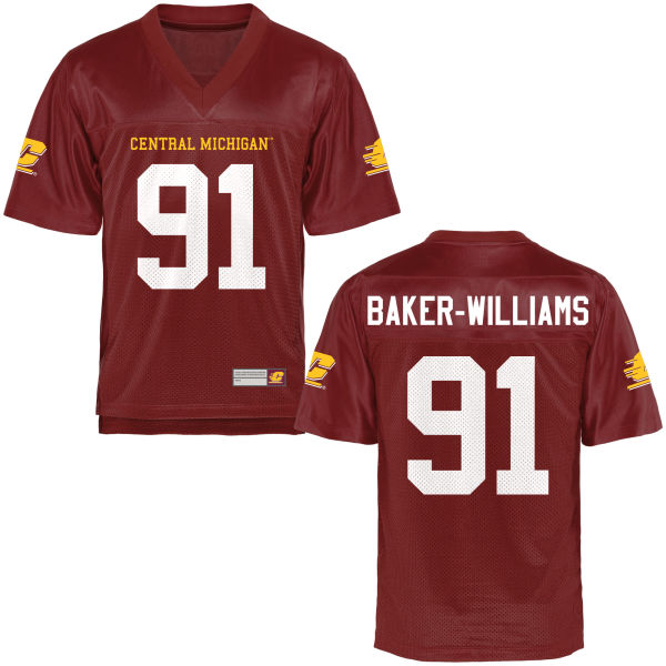 Youth Deshawn Baker-Williams Central Michigan Chippewas Game Football Jersey Maroon