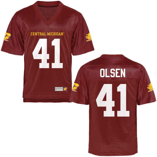 Youth Elijah Olsen Central Michigan Chippewas Game Football Jersey Maroon