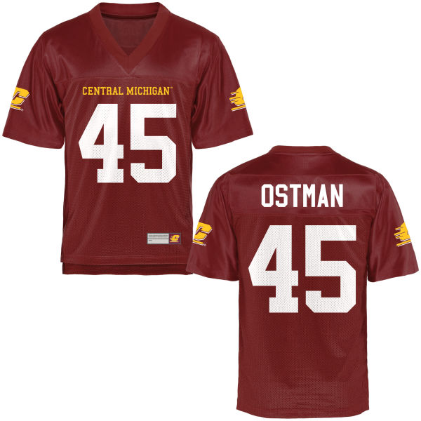 Men's Joe Ostman Central Michigan Chippewas Game Football Jersey Maroon