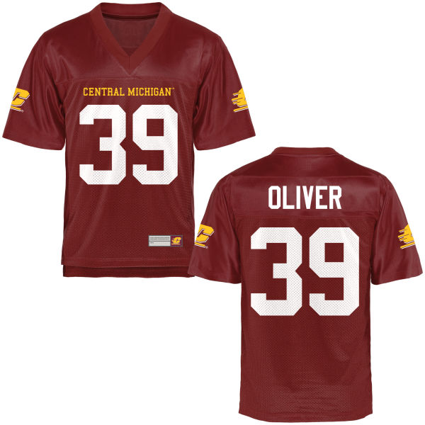 Men's Michael Oliver Central Michigan Chippewas Authentic Olive Football Jersey Maroon