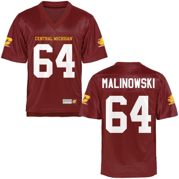 Men's Travis Malinowski Central Michigan Chippewas Replica Football Jersey Maroon