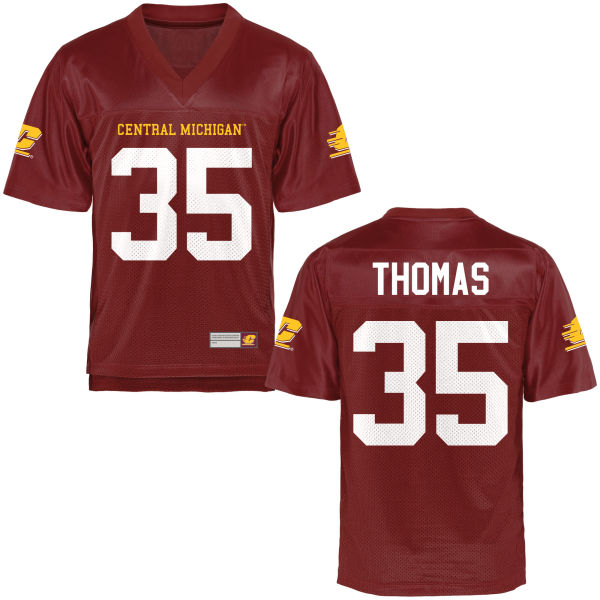 Men's Trevor Thomas Central Michigan Chippewas Game Football Jersey Maroon